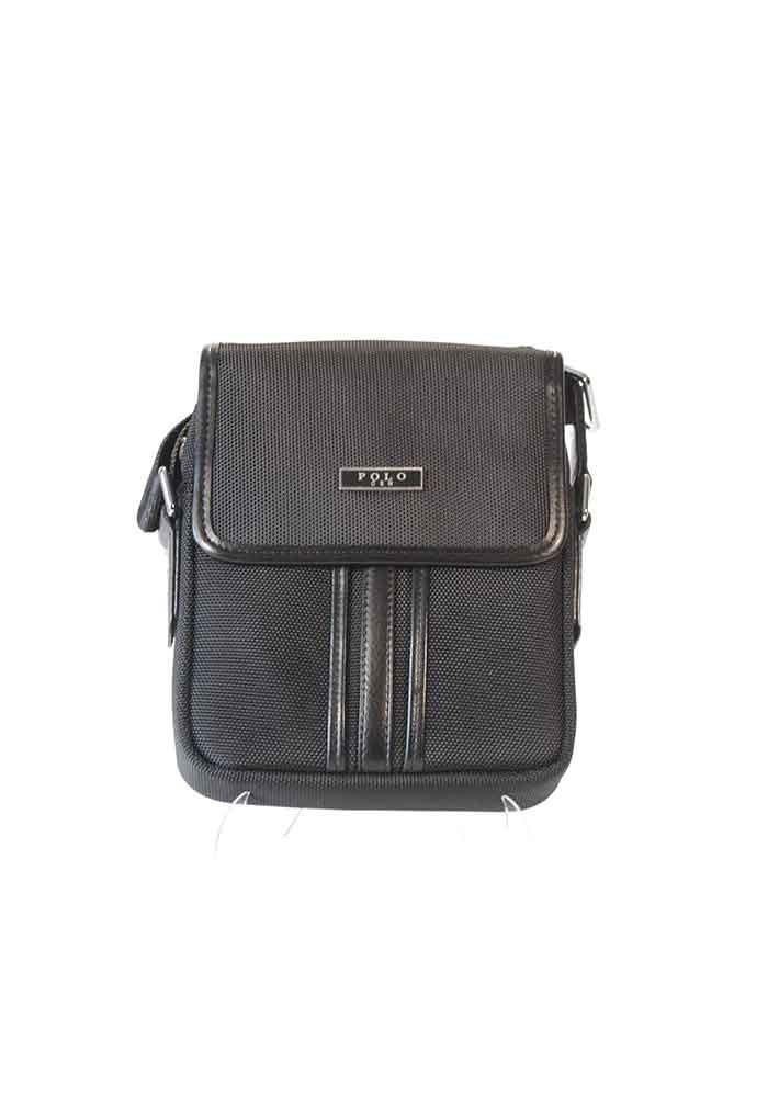 cb1386f1ea91 Черная тканевая мужская сумка через плечо POLO с клапаном - купить в ...