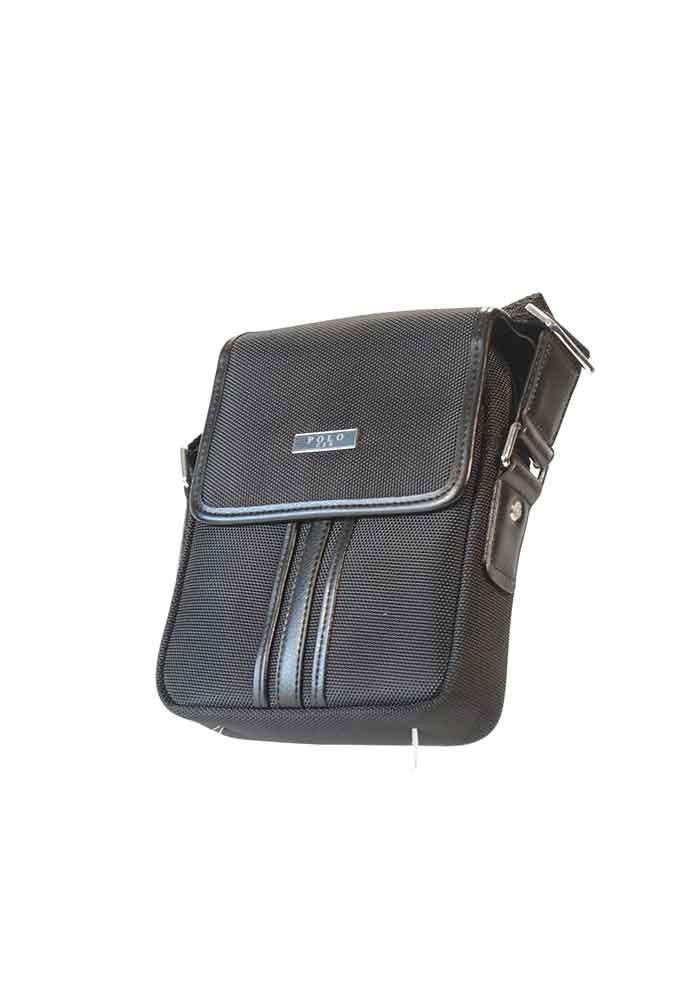 Черная тканевая мужская сумка через плечо POLO с клапаном