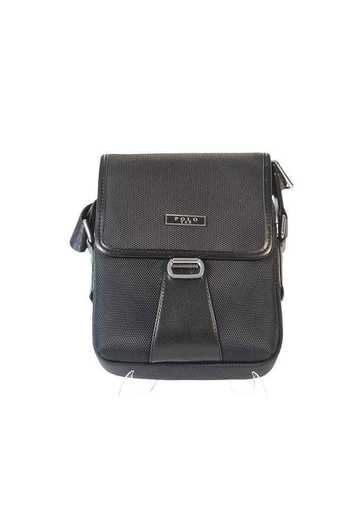 Черная тканевая мужская сумка через плечо POLO 670-1