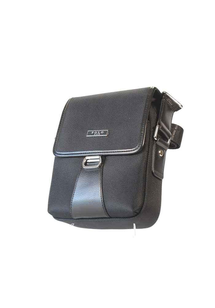 Черная тканевая мужская сумка через плечо POLO