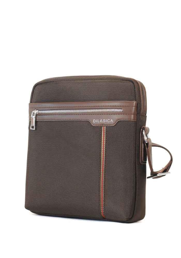 Коричневая мужская сумка через плечо Dilasica 909-3-brn