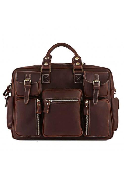 Мужская кожаная дорожная сумка TIDING BAG 7028R-1