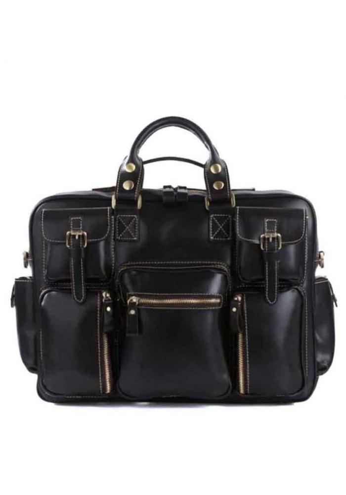 Мужская кожаная дорожная сумка TIDING BAG 7028A