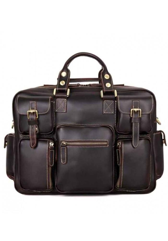 Мужская кожаная дорожная сумка TIDING BAG 7028Q