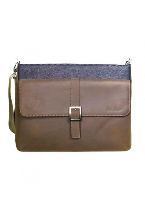 Модная мужская сумка ISSA HARA коричнево-синяя