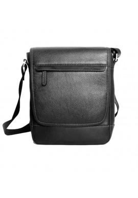 Фото Мужская кожаная сумка через плечо ISSA HARA черная