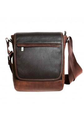 Фото Мужская кожаная сумка через плечо ISSA HARA коричневая