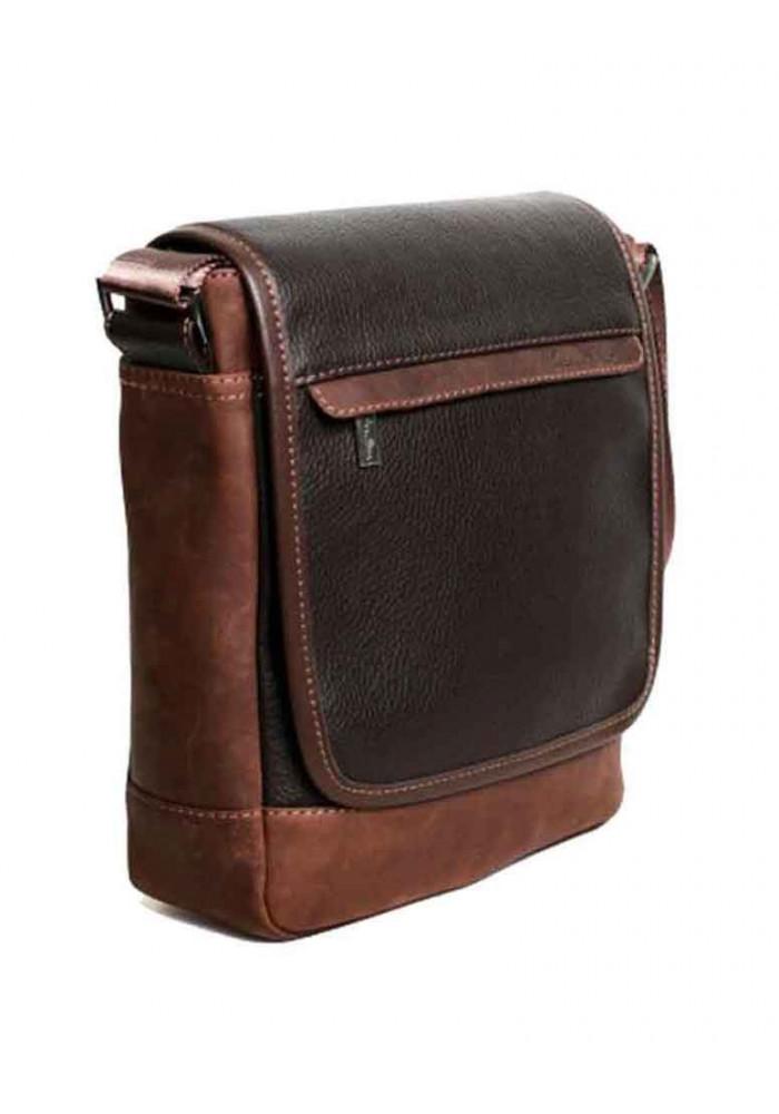 Мужская кожаная сумка через плечо ISSA HARA коричневая