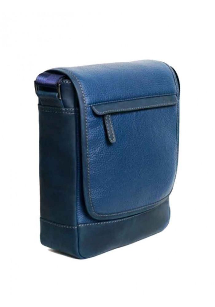 Мужская кожаная сумка через плечо ISSA HARA синяя