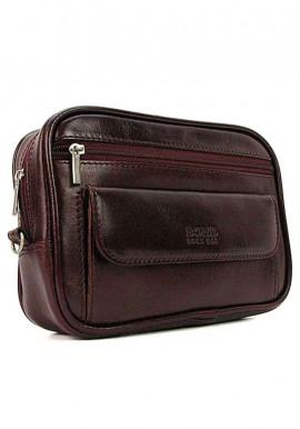 Фото Бордовая мужская кожаная сумка на пояс Bond 165