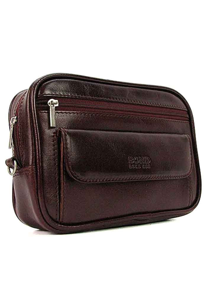 Бордовая мужская кожаная сумка на пояс Bond 165