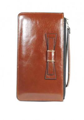 Фото Коричневый женский кошелек с бантиком и ручкой