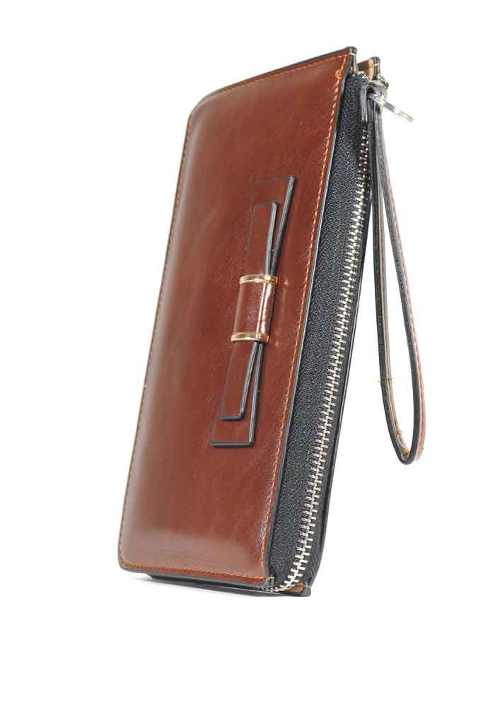 Коричневый женский кошелек с бантиком и ручкой