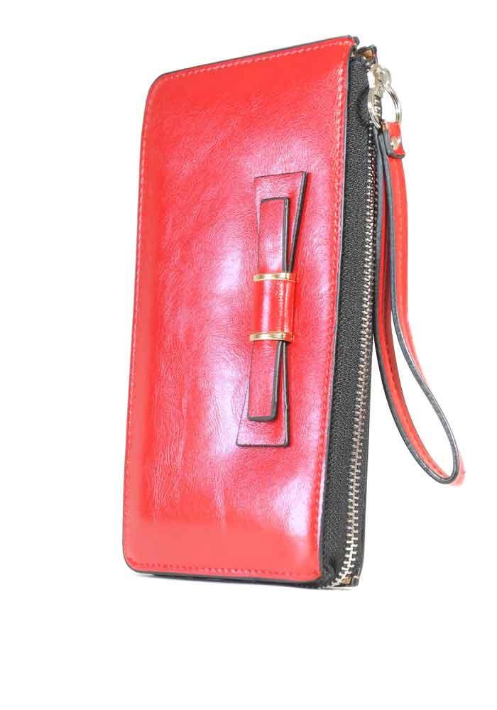 Красный женский кошелек с ручкой