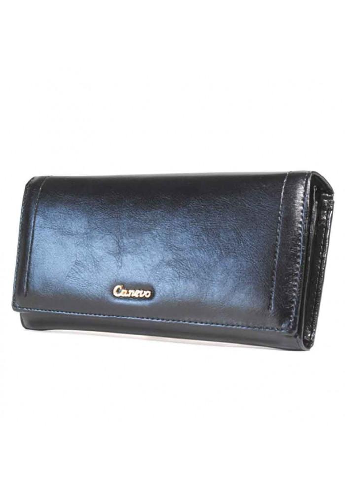 Черный глянцевый женский кошелек Canevo