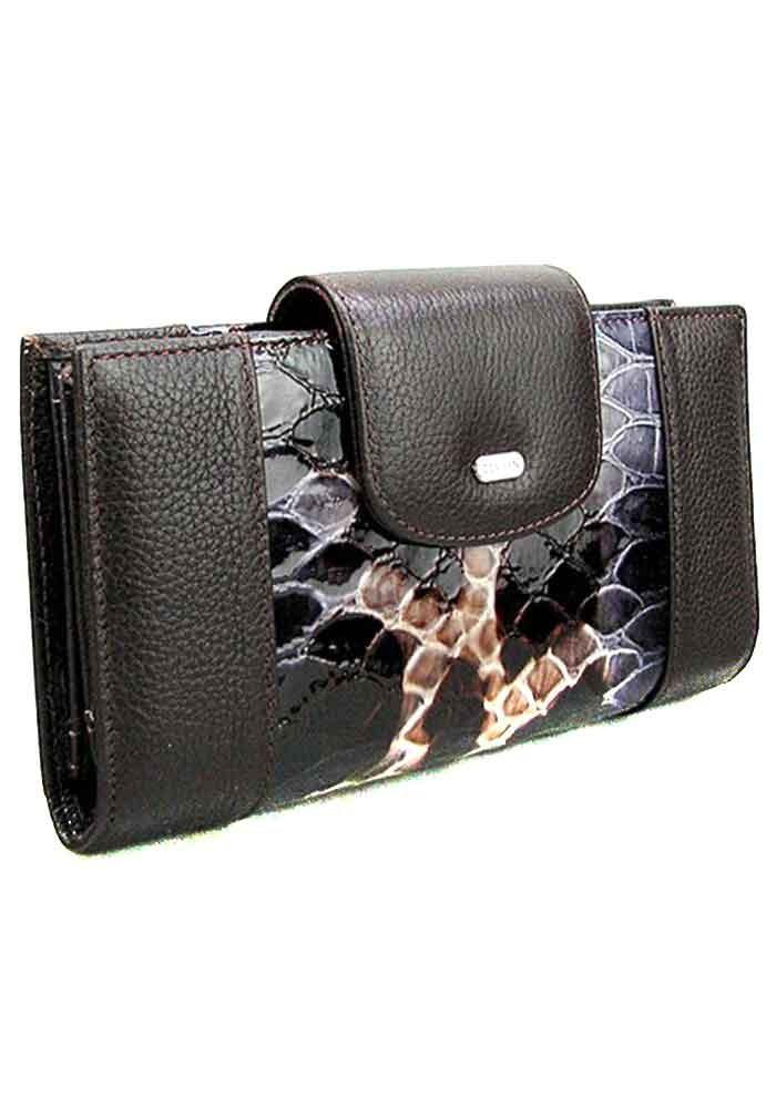 Кожаный женский кошелек с лаковой вставкой Desisan