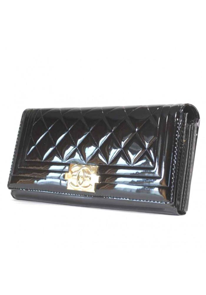 Черный лаковый женский кошелек Tailian
