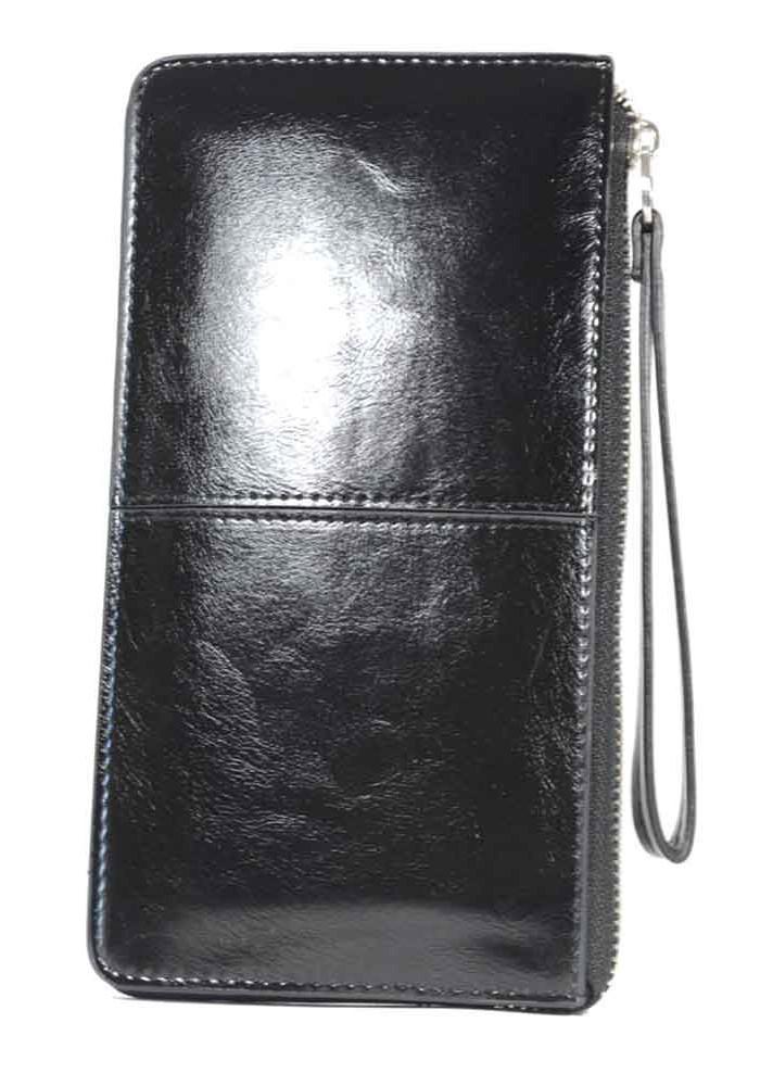 Черный женский кошелек с ручкой 837-Y208P-5