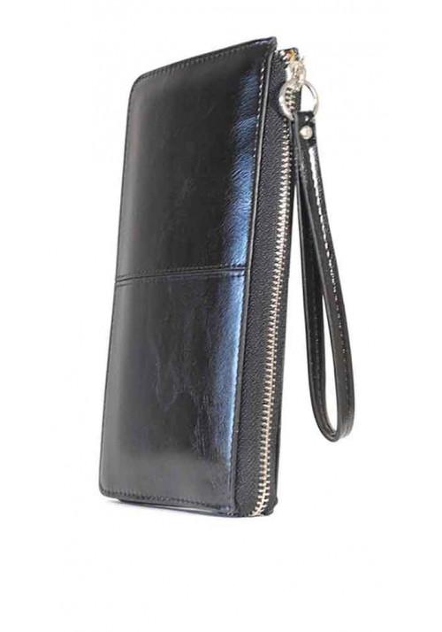 Черный женский кошелек с ручкой