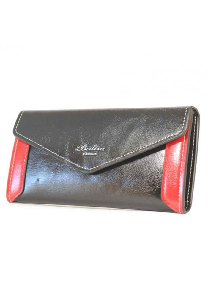 Черный женский кошелек с красными вставками Balisa