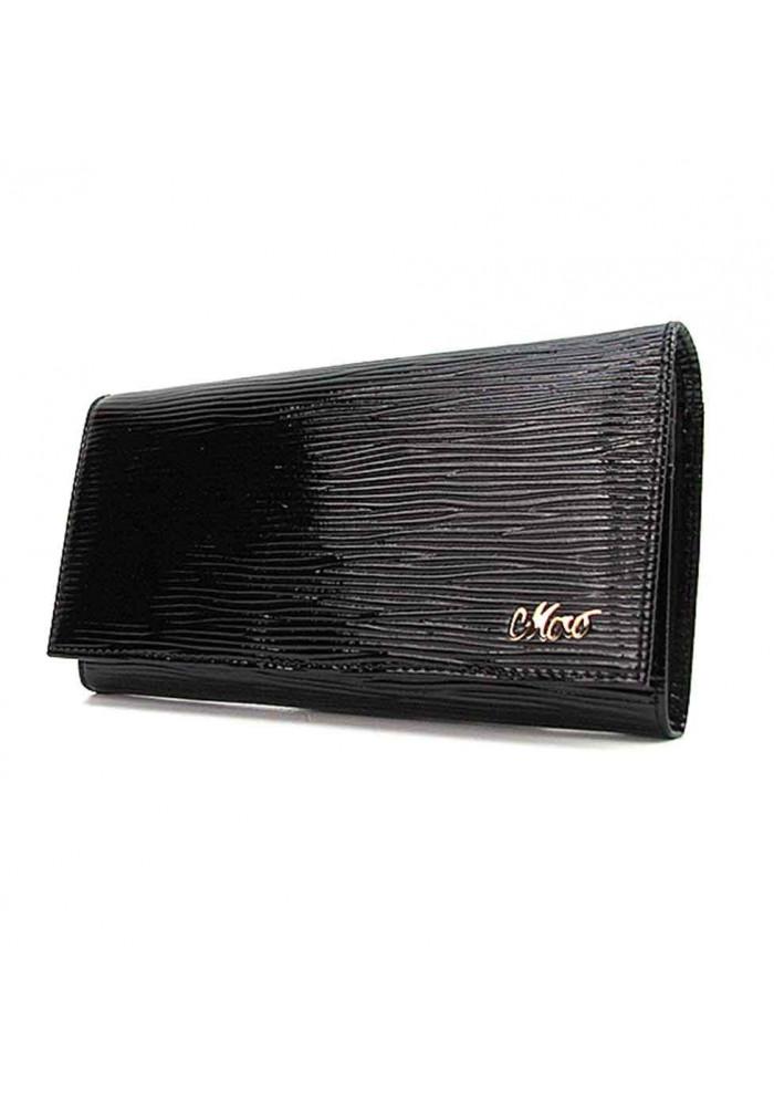 Кожаный женский кошелек черного цвета Jenny 149-21