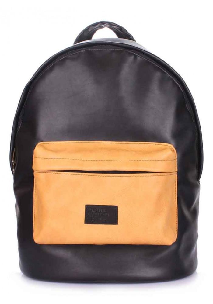 Женский рюкзак Poolparty Backpack PU Black Beige