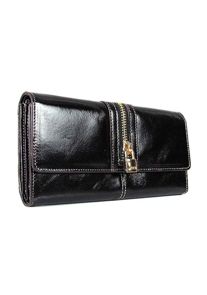 Кожаный черный женский кошелек JS 3072