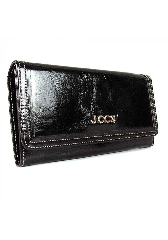 Кожаный черный женский кошелек JS 3053