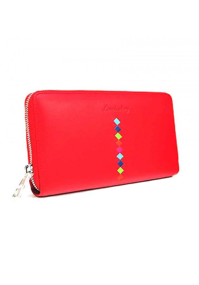 Кожаный женский кошелек LK 94-574 красный