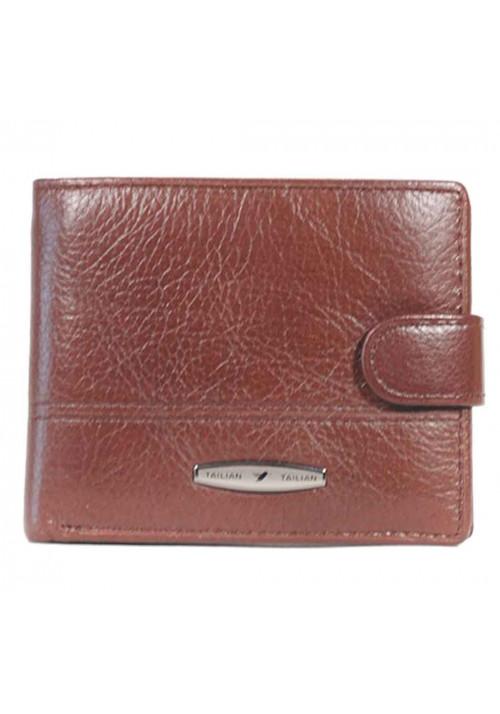 Горизонтальный кошелек мужской кожаный Tailan коричневый