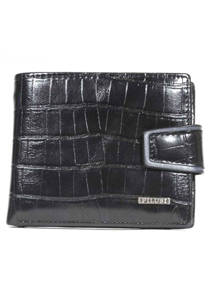 Черное глянцевое мужское портмоне