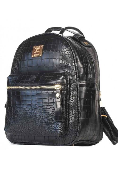 Черный женский рюкзачок CROCO