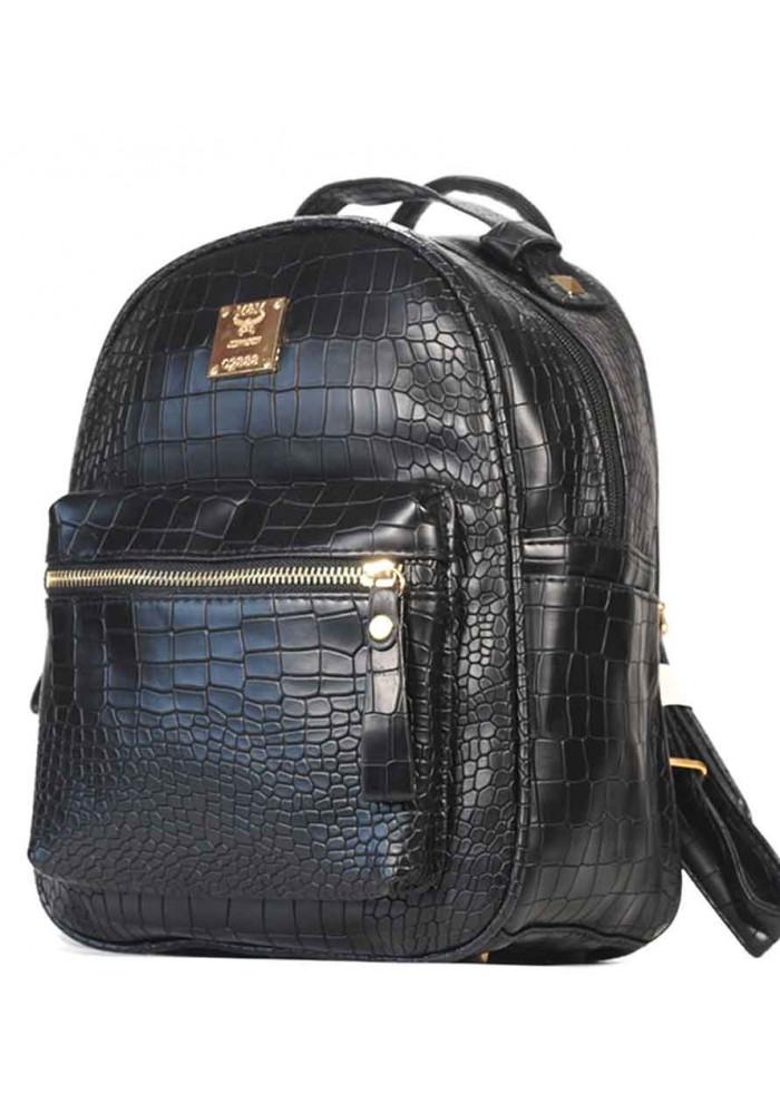 Черный молодежный женский рюкзачок CROCO
