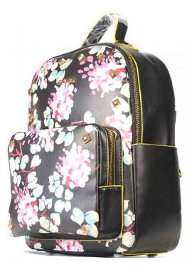Фото Черный молодежный женский рюкзак с цветами