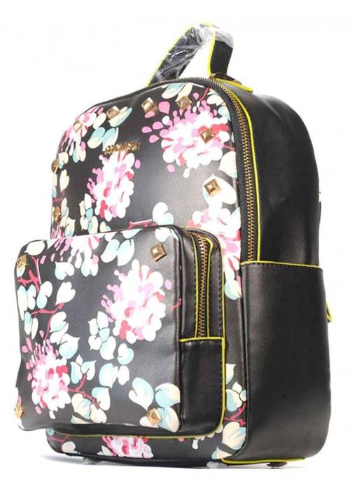 Черный молодежный женский рюкзак с цветами