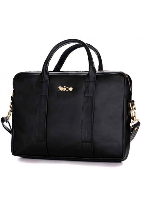 Кожаная женская сумка для ноутбука Dulce черная