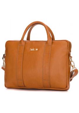 Фото Кожаная женская сумка для ноутбука Dulce рыжая