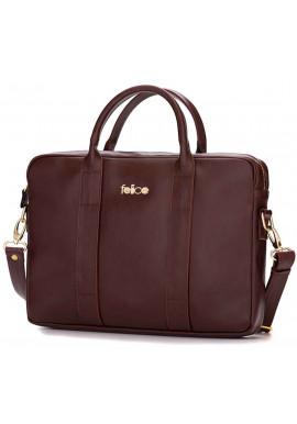 Фото Кожаная женская сумка для ноутбука Dulce коричневая
