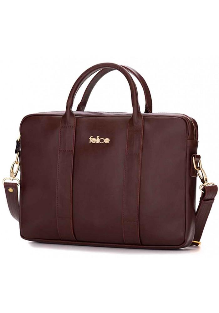Кожаная женская сумка для ноутбука Dulce коричневая