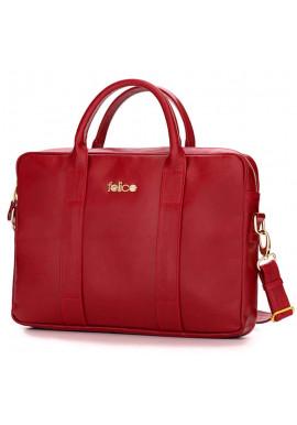 Фото Кожаная женская сумка для ноутбука Dulce красная