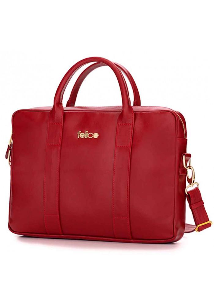 Кожаная женская сумка для ноутбука Dulce красная