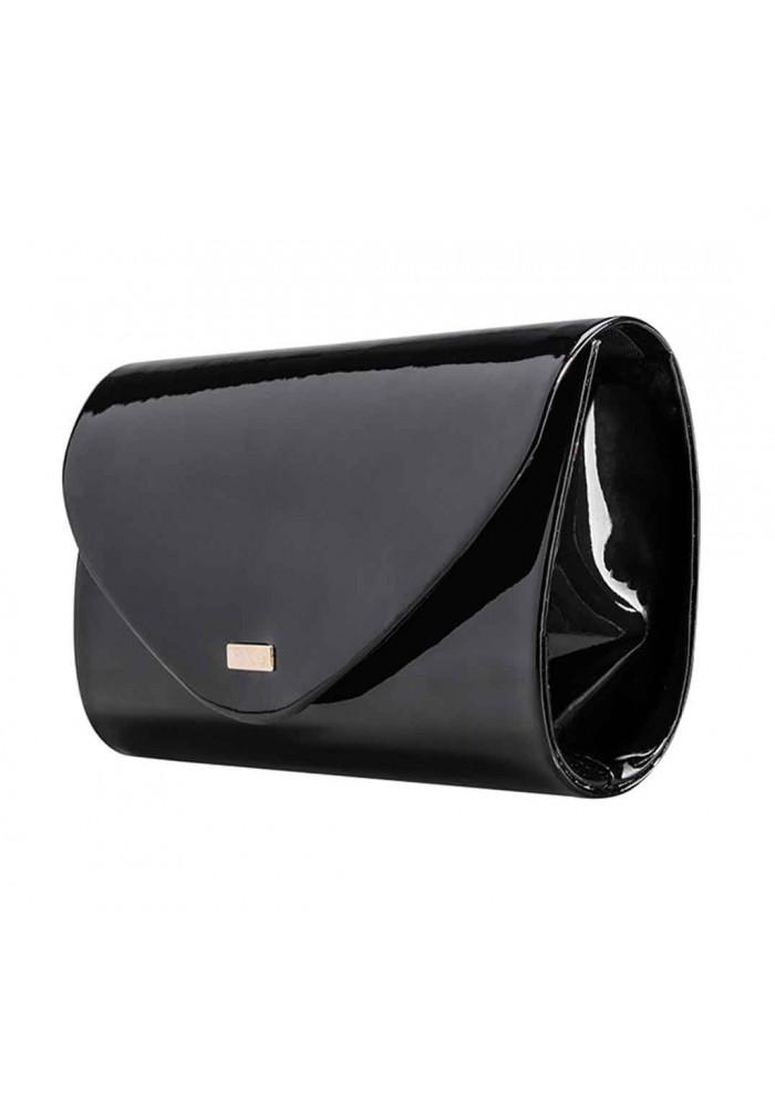 Женский клатч из лаковой экокожи Felice F15 черный