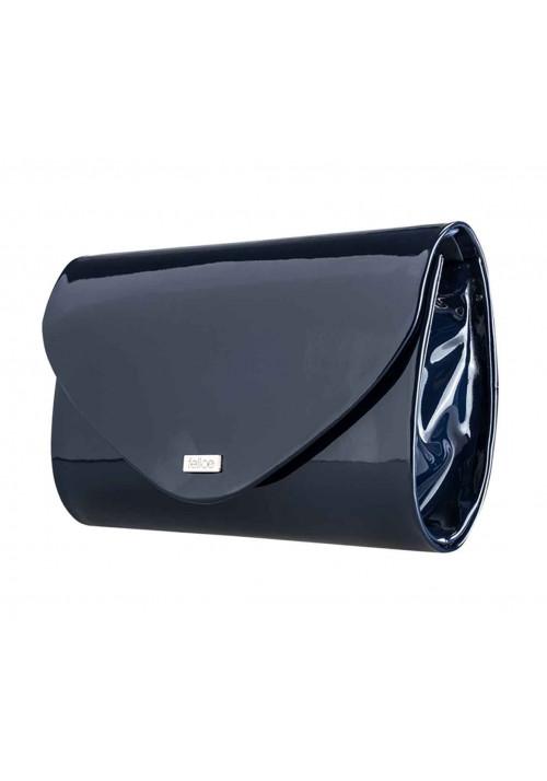 Женский клатч из лаковой экокожи Felice F15 темно-синий