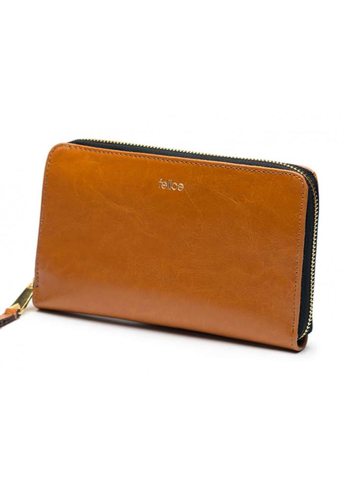 Кожаный женский кошелек Felice P01 Camel