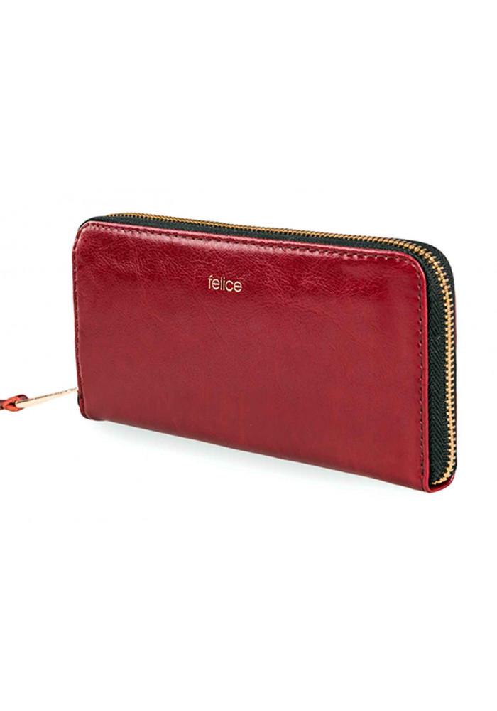 Кожаный женский кошелек Felice P02 Red Gold