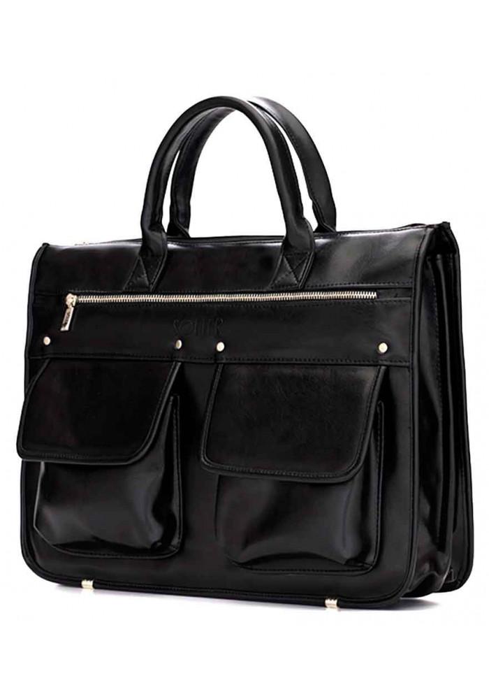Модный мужской портфель Solier S24 Black