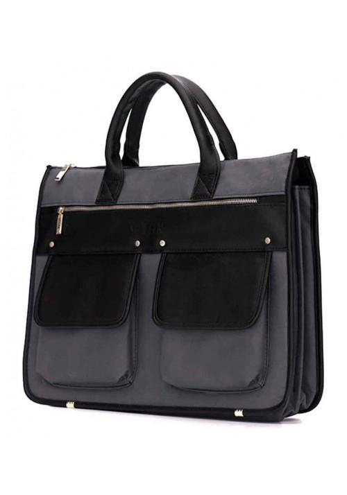 Стильный мужской портфель Solier S24 Grеy Black