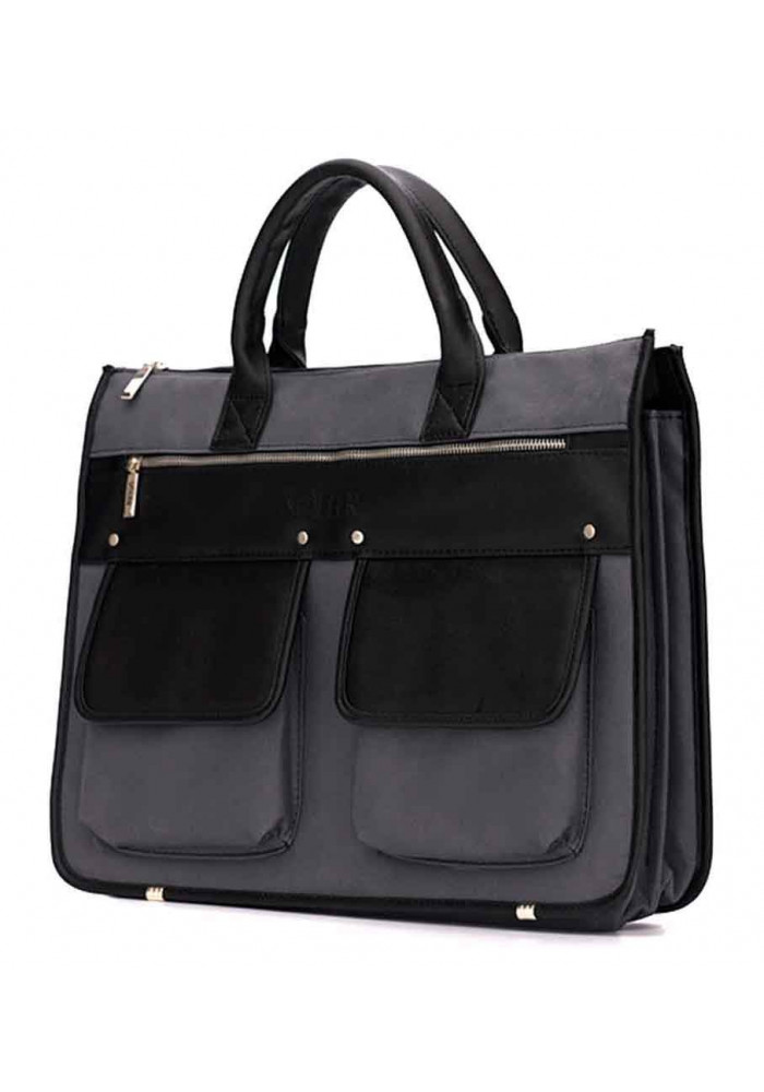 Модный мужской портфель Solier S24 Grеy Black