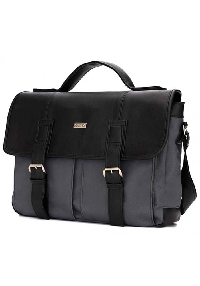 Мужская сумка для города  из ткани Solier S14 Grеy Black