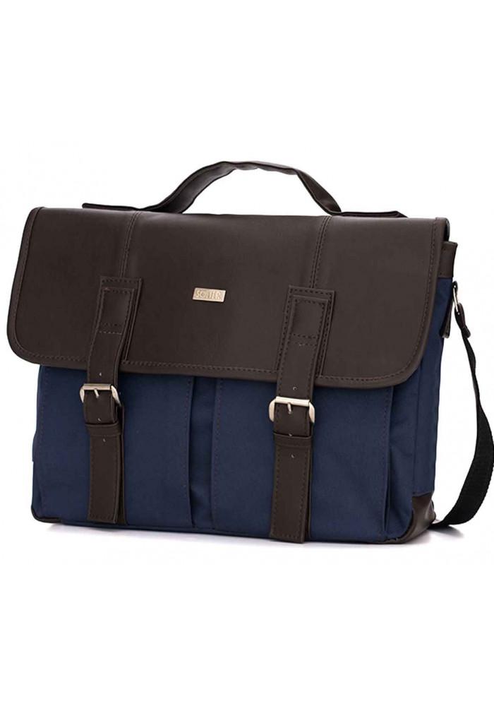 Тканевая мужская городская сумка Solier S14 Blue Brown